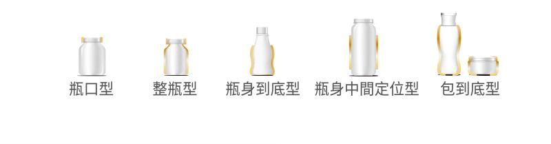 瓶口型 - 整瓶型 - 瓶身到底型 - 瓶身中间定位型 - 包到底型